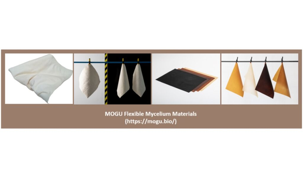 Different types of available myco-materials - MOGU Flexible Mycelium Materials